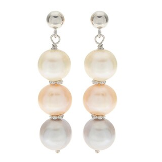 Pearls For You Sterling Silver Multi-color Freshwater Pearl Dangle Earrings
