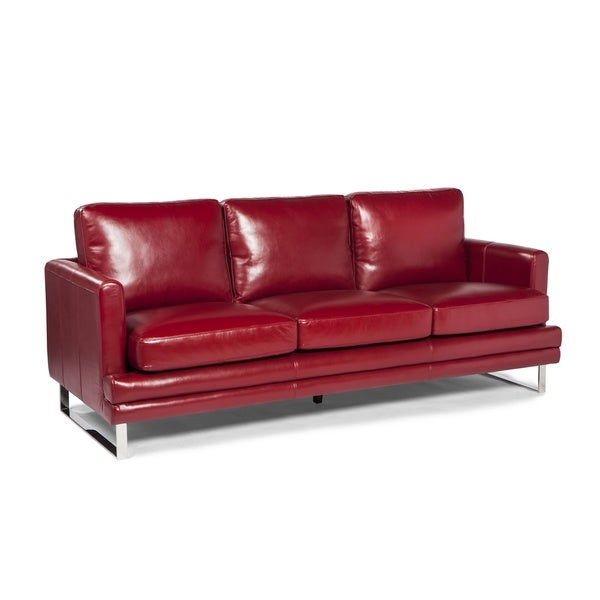 Shop Melbourne Collection Red Leather Sofa By Lazzaro