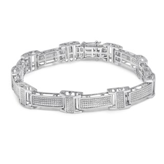 Unending Love 10k White Gold Men's 1 3/4ct TDW Diamond Bracelet (I-J, I2-I3)