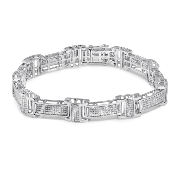 Unending Love 10k White Gold Men s 1 3 4ct TDW Diamond Bracelet