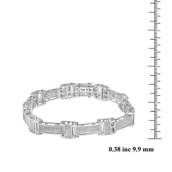 Unending Love 10k White Gold Men's 1 3/4ct TDW Diamond Bracelet (I-J, I2-I3)