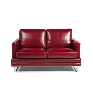 Melbourne Collection Red Leather Loveseat by Lazzaro Leather