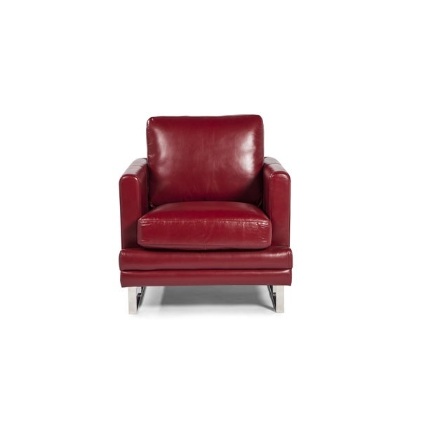 Shop Melbourne Collection Red Leather Chair By Lazzaro