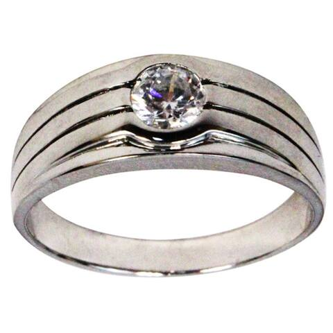 Seaich Sterling Silver and Cubic Zirconia Grooved Design Men's Wedding Ring