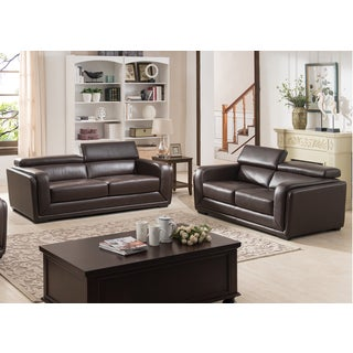 Christies Home Living Calvin Brown Modern Leather 2-Piece Sofa and Love Seat Living Room Collection