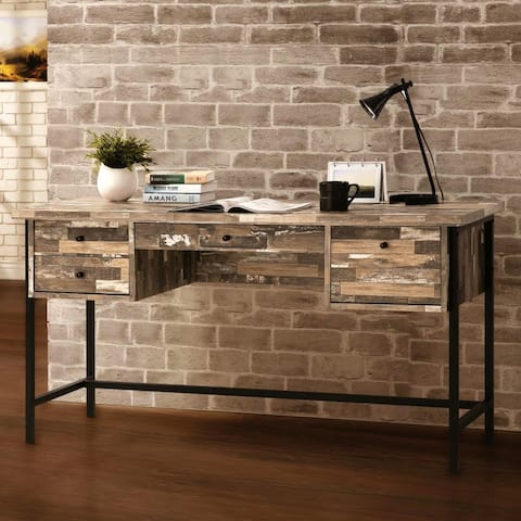 Mid Century Salvaged Cabin Finish and Metal Frame Home Office Computer/ Writing Desk