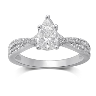 Unending Love 14k White Gold 3/4ct TDW Invisible Pear Pie Cut Diamond Engagement Ring