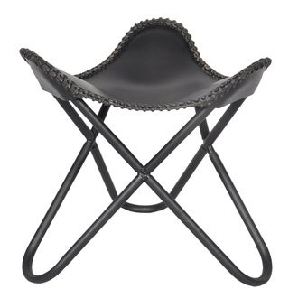 Black Leather Butterfly Footrest with Black Base