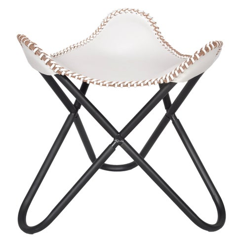 Leather Butterfly Stool White