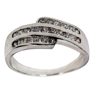 Slanted Triple Row Sterling Silver Cubic Zirconia Unisex Wedding Ring
