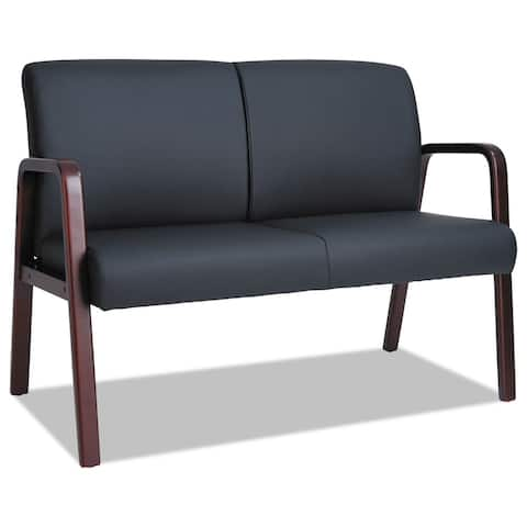 Alera Reception Lounge Series Wood Loveseat, 44 7/8 x 26 x 33 1/4, Black/Mahogany