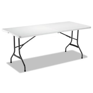 Alera Fold-in-Half Resin Folding Table, 71w x 30d x 29h, White