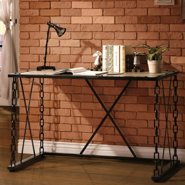 Industrial Distressed Rustic Finish Chain Link Design Home Office Computer/  Writing Desk
