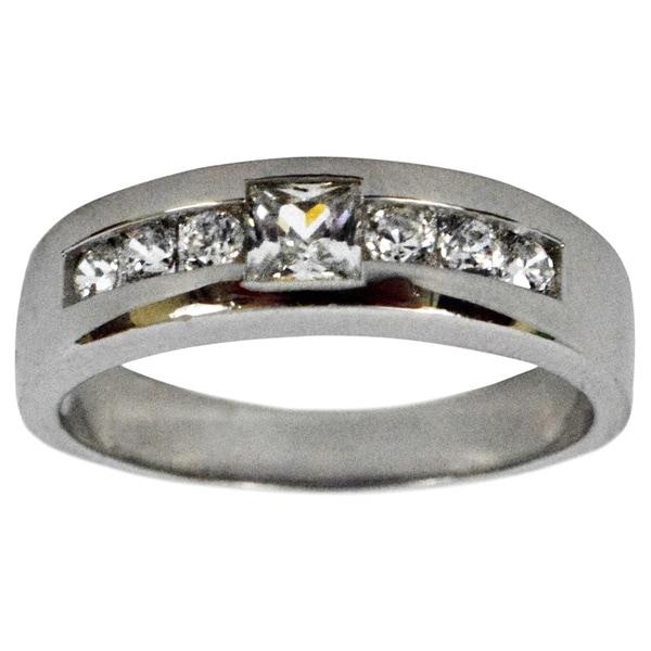Seaich Men X27 S Cubic Zirconia Sterling Silver Wedding Ring