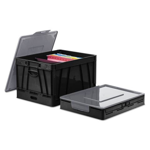 Universal Collapsible Crate 17 1/4 x 14 1/4 x 10 1/2 Black/Grey 2/Pack