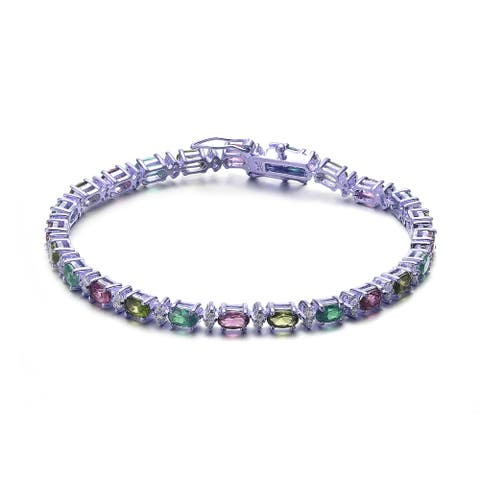 Collette Z Sterling Silver Multi Color Cubic Zirconia Stud Bracelet