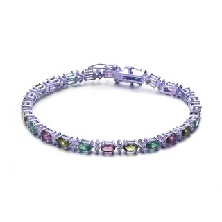 Collette Z Sterling Silver Multi Color Cubic Zirconia Stud Bracelet
