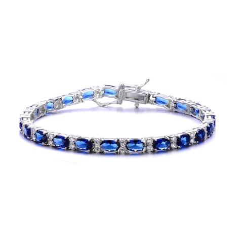 Collette Z Rhodium Plated Sterling Silver Blue Cubic Zirconia Stud Bracelet