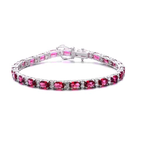 Collette Z Rhodium Plated Sterling Silver Red Cubic Zirconia Stud Bracelet