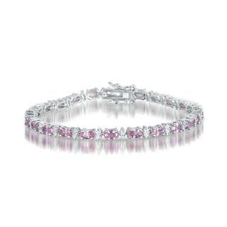 Collette Z Sterling Silver Pink Cubic Zirconia Stud Bracelet