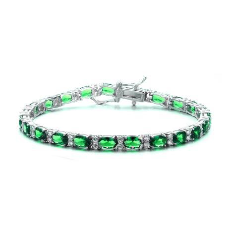 Collette Z Sterling Silver Green Cubic Zirconia Bracelet