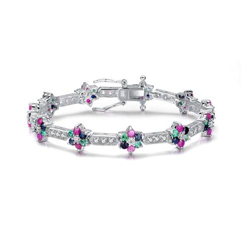 Collette Z Sterling Silver Multi-Color Cubic Zirconia Bracelet