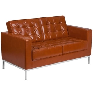 HERCULES Lacey Series Contemporary Leather Love Seat with Stainless Steel Frame