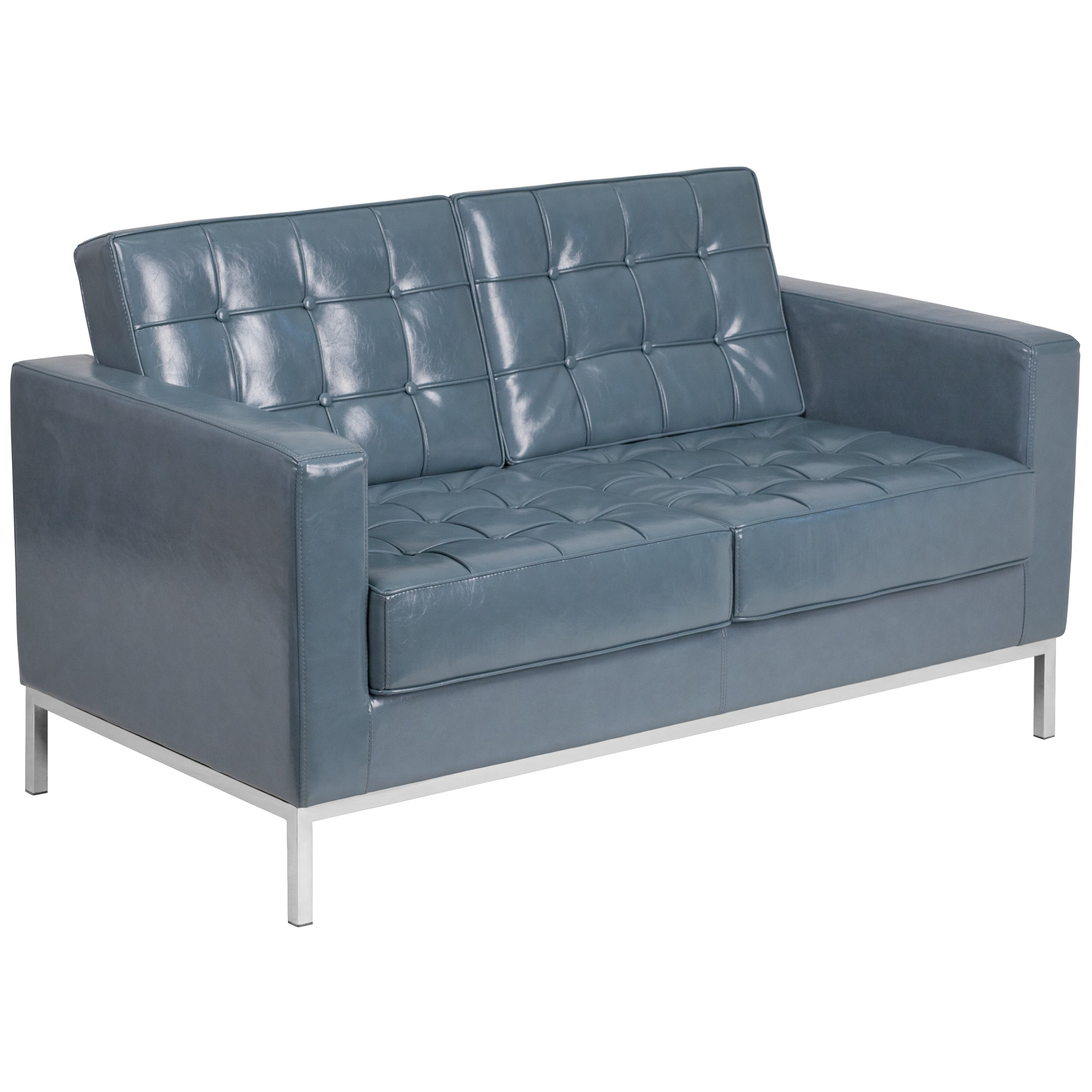 Enjoyable Strick Bolton Wolcott Contemporary Leather Love Seat With Stainless Steel Frame Creativecarmelina Interior Chair Design Creativecarmelinacom
