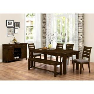 Rustic Block Plank Design Casual 7-piece Dining Set with Matching Buffet Server