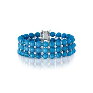 Collette Z C.Z. Sterling Silver Rhodium Plated Turquoise Bracelet