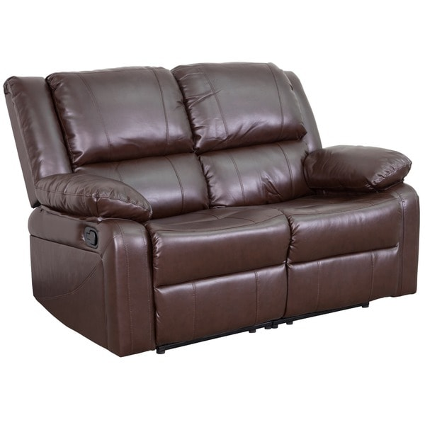 harmony series leather loveseat with two builtin recliners free shipping today - Loveseat Recliners