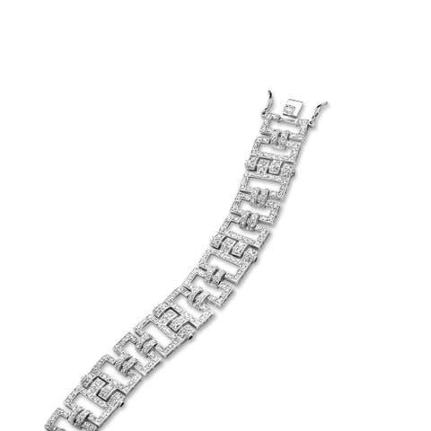 Collette Z Sterling Silver Cubic Zirconia Linked Rectangle Bracelet