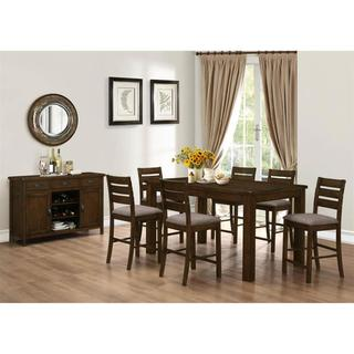 Rustic Block Plank Design Casual 8-piece Counter Height Dining Set with Matching Storage Server