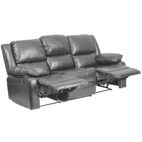 Copper Grove Malheur Leather Sofa with Two Built-in Recliners