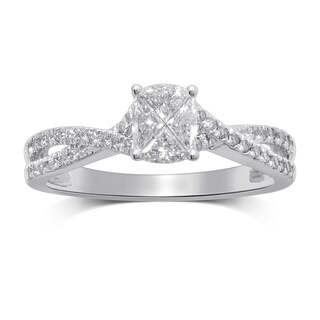 Unending Love 14k White Gold 5/8ct TDW Invisible Cushion Pie Cut Diamond and Moissanite Engagement Ring (H-I, SI2-SI2)