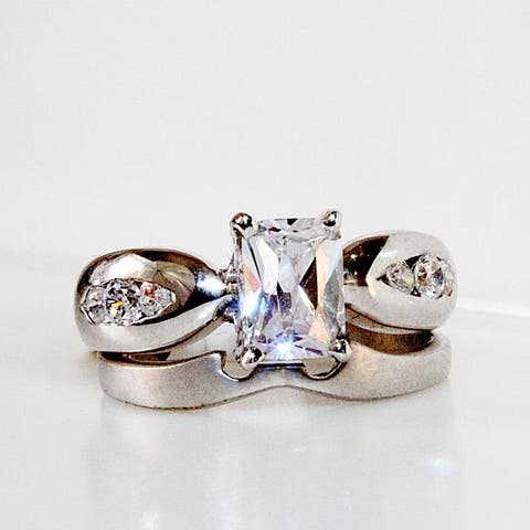 Seaich Sterling Silver and Cubic Zirconia Women's Engagement Ring