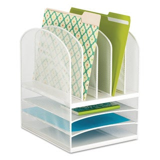 Safco Onyx Mesh Desk Organizer Eight Sections 11 1/2 x 9 1/2 x 13 White