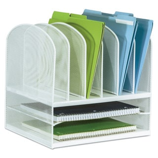 Safco Mesh Desk Organizer Eight Sections Steel 13 1/2 x 11 3/8 x 13 White