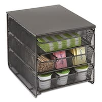 Safco 3 Drawer Hospitality Organizer 7 Compartments 11 1/2-inch wide x 8 1/4-inch deep x 8 1/4h Bk