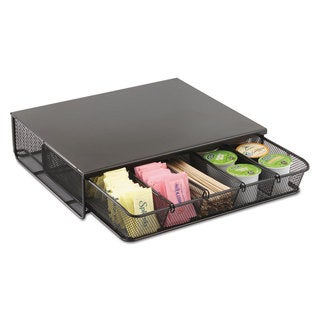 Safco One Drawer Hospitality Organizer 5 Compartments 12 1/2 x 11 1/4 x 3 1/4 Bk