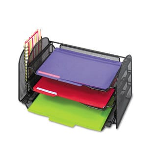 Safco Mesh Desk Organizer 1 Vertical/3 Horizontal Sections 16 1/4 x 9 x 8 Black|https://ak1.ostkcdn.com/images/products/14061704/P20674993.jpg?impolicy=medium