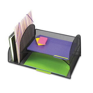 Safco Desk Organizer Two Vertical/Two Horizontal Sections 17 x 10 3/4 x 7 3/4 Black