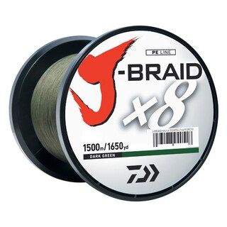 Daiwa J-Braid Braided Line, 40 lbs Tested 1650 Yards/1500m Filler Spool, Dark Green