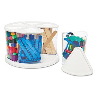 deflecto Six Canister Carousel Organizer Plastic 11 1/8 x 11 1/8 White/Clear