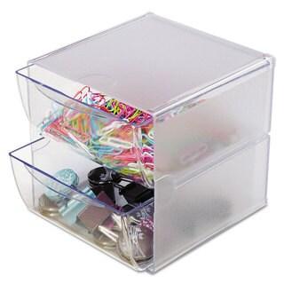 deflecto Two Drawer Cube Organizer Clear Plastic 6 x 7-1/8 x 6