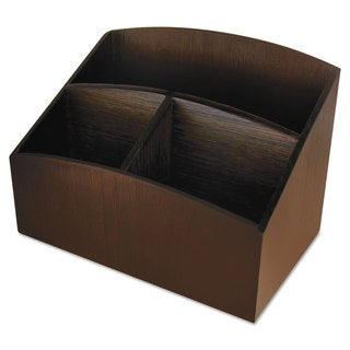 Artistic Eco-Friendly Bamboo Curves Desk Organizer 7 1/4 x 4 3/4 x 5 1/4 Espresso