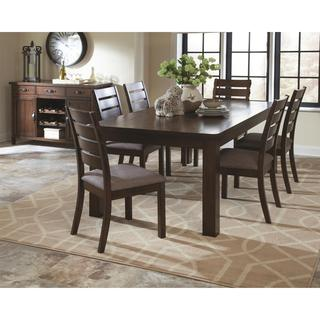 Rustic Block Plank Design Casual 8-piece Dining Set with Matching Storage Buffet Server