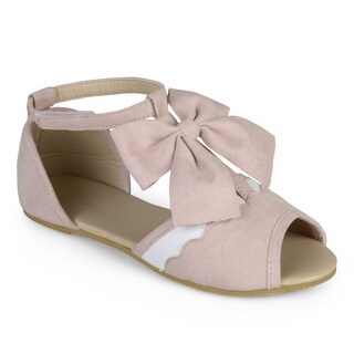 Journee Kid's Girl 'Darla' T-strap Peep Toe Scalloped Flats