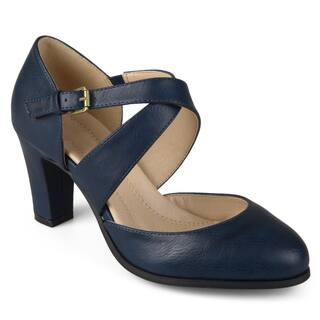 Journee Collection Women's 'Ainsli' Comfort Sole Cross Strap Pumps|https://ak1.ostkcdn.com/images/products/14061844/P20675045.jpg?impolicy=medium