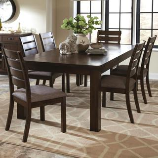 Rustic Block Plank Design Casual 9-piece Dining Set with Exposed Metal Brackets